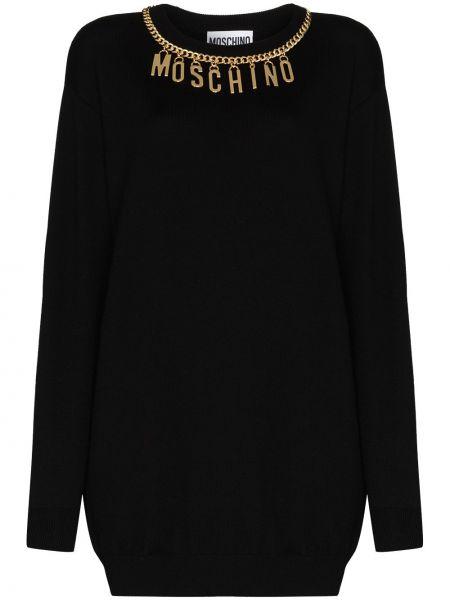 Вязаное черное платье макси с длинными рукавами Moschino