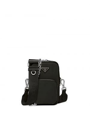 Czarna torebka na łańcuszku skórzana Prada