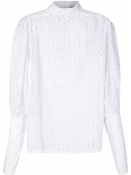 Прямая блузка с длинным рукавом с воротником с вышивкой узкого кроя Reinaldo Lourenço