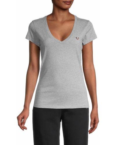 Хлопковая футболка с V-образным вырезом с короткими рукавами True Religion