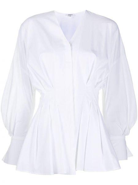 Biały z rękawami pofałdowany koszula z dekoltem w szpic Enfold