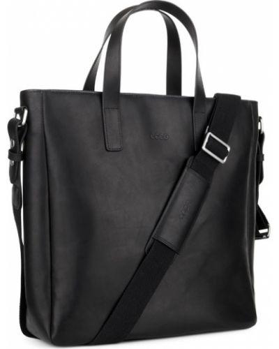 Кожаная сумка сумка-шоппер черная Ecco