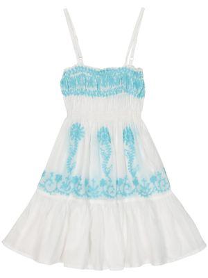 Niebieska sukienka mini z haftem Melissa Odabash Kids