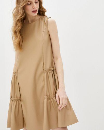 Кожаное бежевое платье Incity