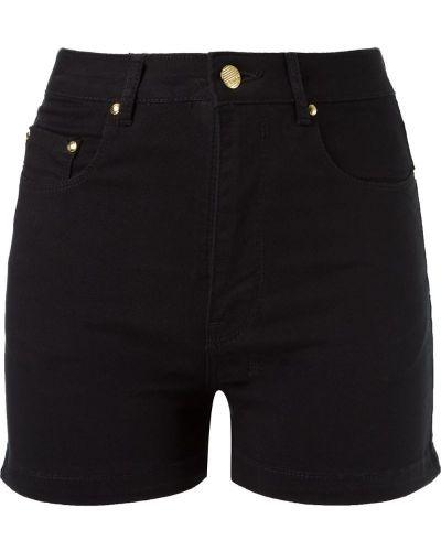 Однобортные черные джинсовые шорты со стразами Amapô