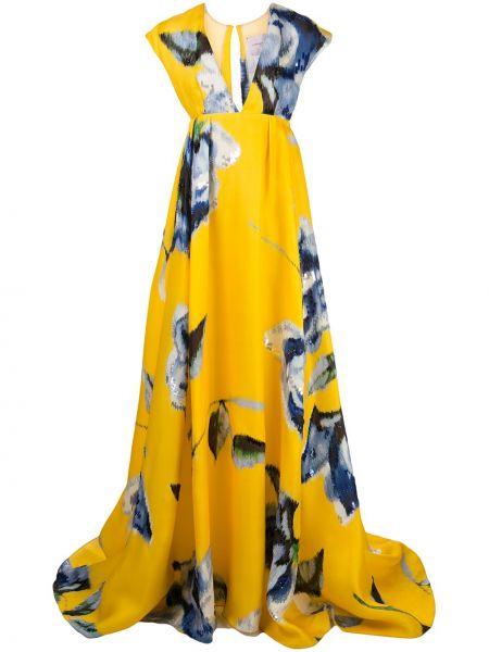 Вечернее платье макси с V-образным вырезом Carolina Herrera