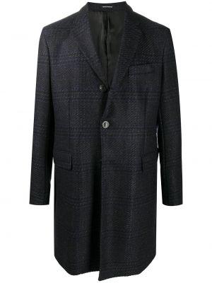 Шерстяное пальто - синее Emporio Armani