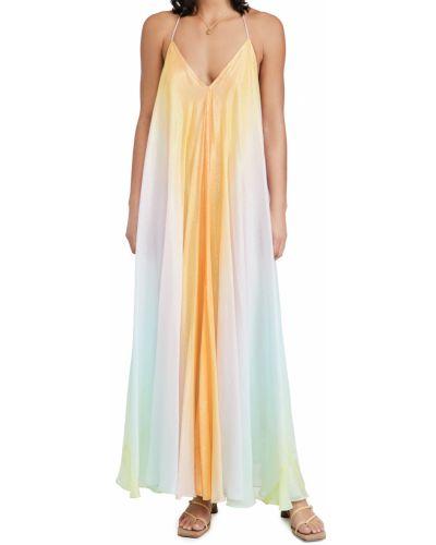 Желтое платье макси с декольте с подкладкой Rococo Sand