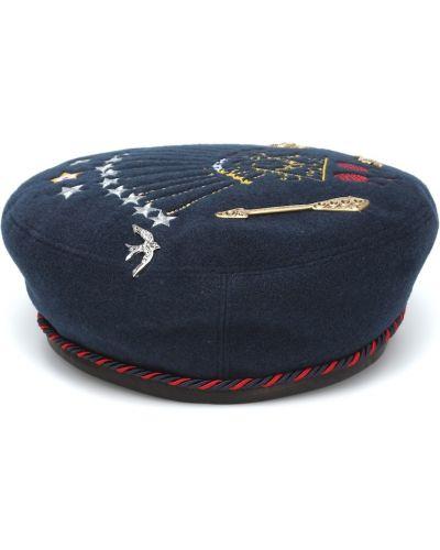 Niebieski beret skórzany z haftem Gucci Kids