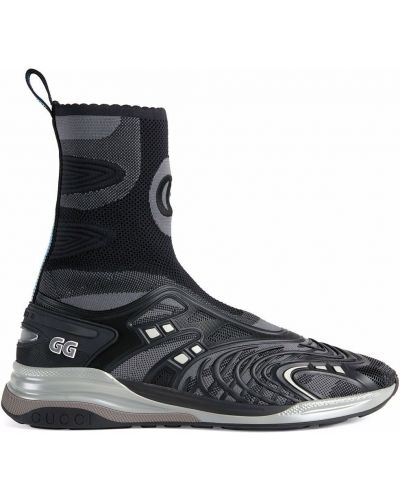 Buty sportowe na obcasie - czarne Gucci