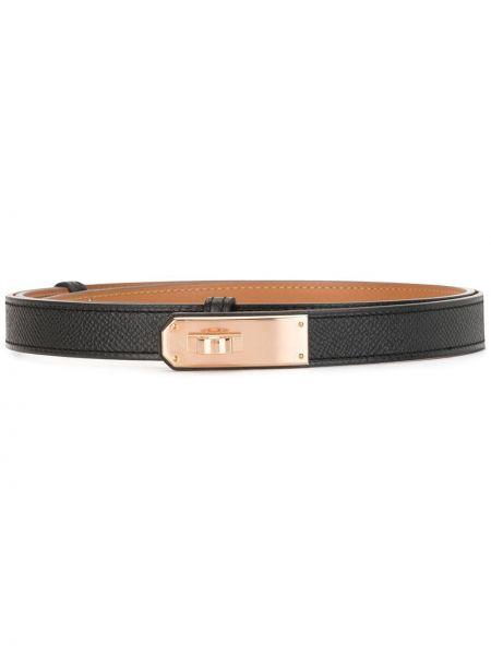 Кожаный черный ремень винтажный с пряжкой Hermès
