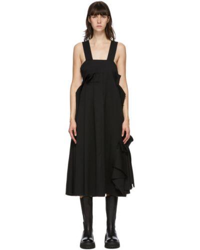 Czarny z paskiem asymetryczny sukienka z kołnierzem Enfold