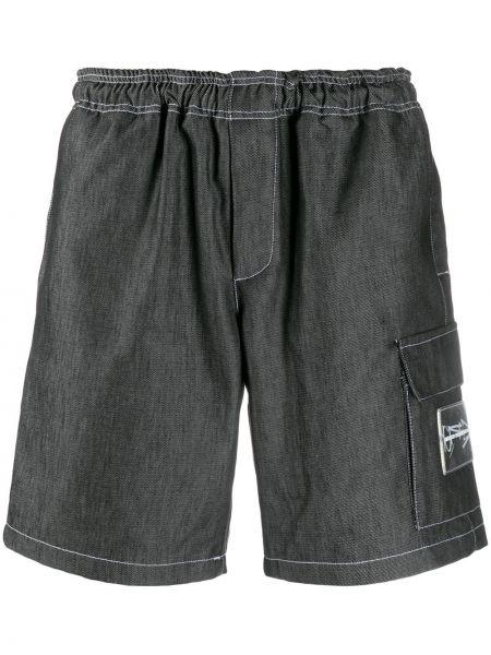 Прямые черные короткие шорты на резинке с заплатками United Standard