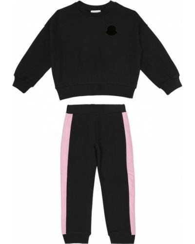 Хлопковый черный спортивный костюм для бега Moncler Enfant