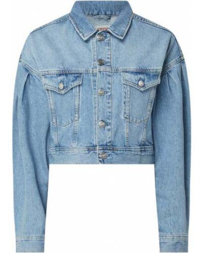 Niebieski bawełna kurtka jeansowa z paskami Pepe Jeans