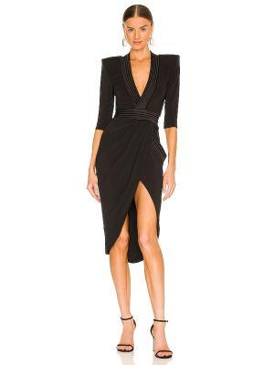 Czarna sukienka wieczorowa kopertowa z wiskozy Zhivago