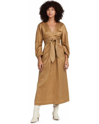 Sukienka z paskiem - brązowa Mara Hoffman