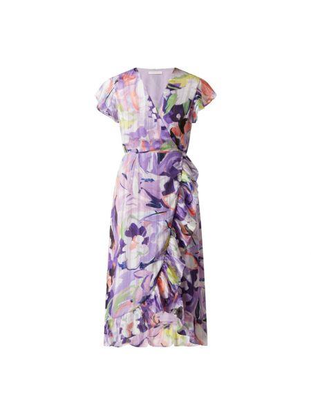 Fioletowa sukienka midi rozkloszowana z falbanami Freebird