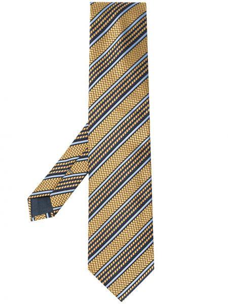Желтый шелковый галстук в полоску Ermenegildo Zegna