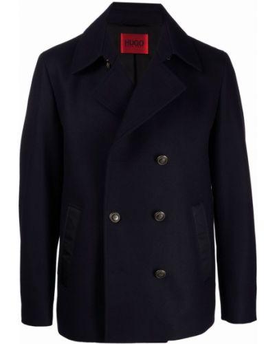 Синее шерстяное пальто Boss