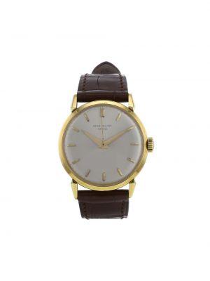 Кожаные серебряные часы механические круглые Patek Philippe