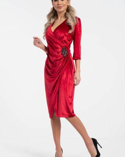 Бархатное с рукавами платье с запахом Wisell