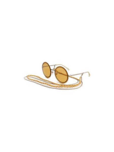 Оранжевые солнцезащитные очки металлические Chanel