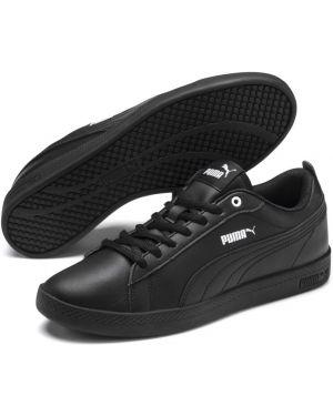 Кожаные мягкие повседневные черные кроссовки Puma