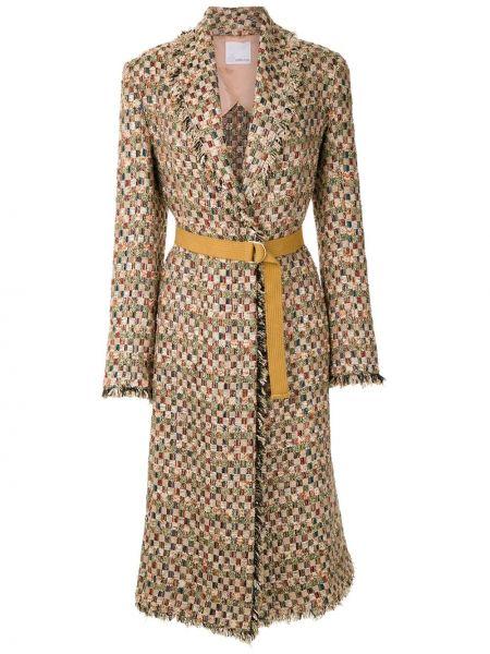Пальто классическое твидовый с бахромой с лацканами Nk