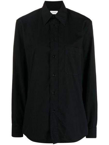 Czarna koszula bawełniana z długimi rękawami Lemaire