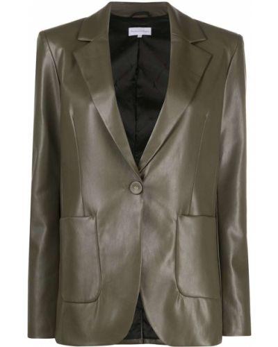 Однобортный кожаный удлиненный пиджак с заплатками Patrizia Pepe