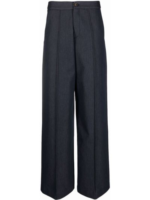 Синие хлопковые со стрелками брюки с вышивкой SociÉtÉ Anonyme