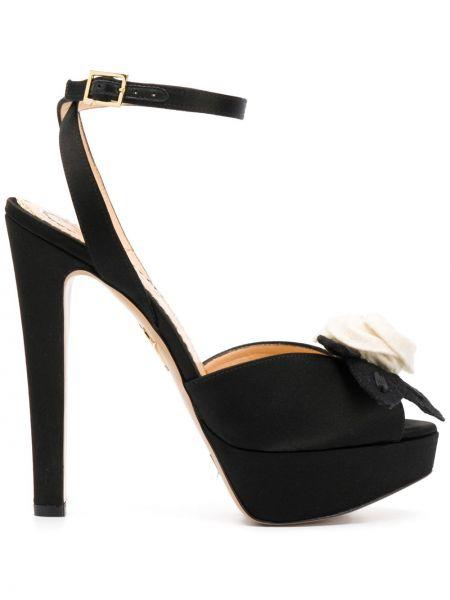 Czarne sandały skorzane klamry Charlotte Olympia