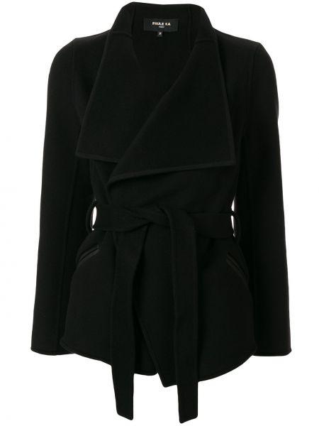 Черное кожаное пальто классическое с капюшоном Paule Ka