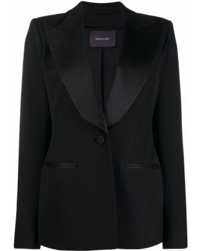 Сатиновый черный удлиненный пиджак с карманами Mugler