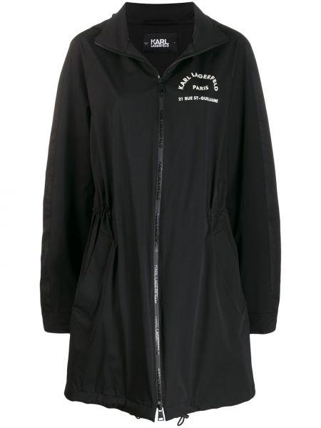 Czarna długa kurtka z nylonu z długimi rękawami Karl Lagerfeld
