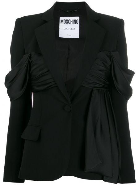 Шелковый черный пиджак с карманами Moschino