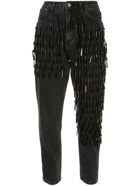 Черные джинсы с высокой посадкой с вышивкой с воротником с карманами Dalood