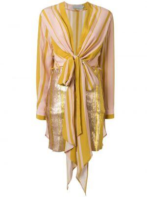 Розовое приталенное платье с V-образным вырезом с драпировкой Silvia Tcherassi