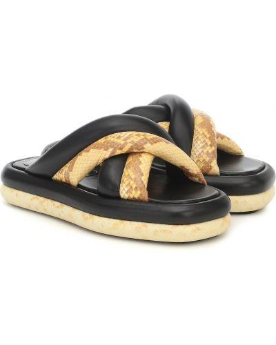Ciepły czarny sandały z prawdziwej skóry na platformie Proenza Schouler