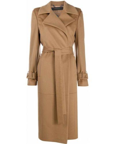Коричневое шерстяное длинное пальто свободного кроя Federica Tosi