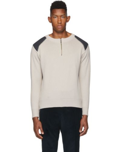 Beżowy długi sweter wełniany z długimi rękawami Gr10k