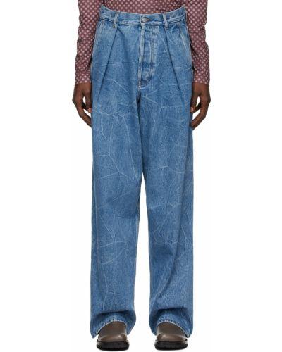 Синие джинсы с заплатками Dries Van Noten
