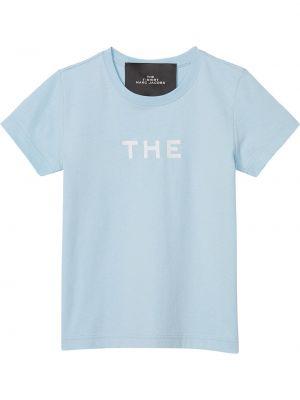 Хлопковая синяя с рукавами рубашка Marc Jacobs