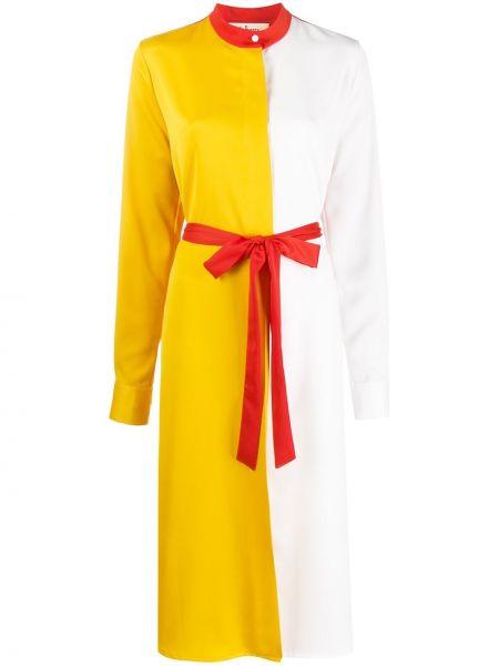 Прямое платье миди на пуговицах с разрезами по бокам с воротником Mulberry