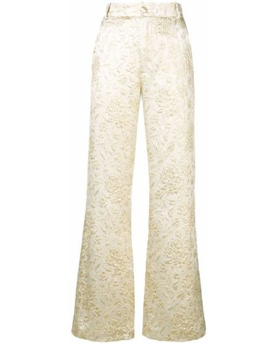 Расклешенные свободные брюки с поясом на пуговицах из парчи Palomo Spain