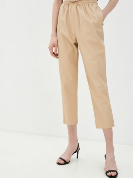 Юбки-брюки весенние кожаные бежевые брюки Grafinia