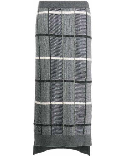 Серая шерстяная юбка с разрезом Thom Browne