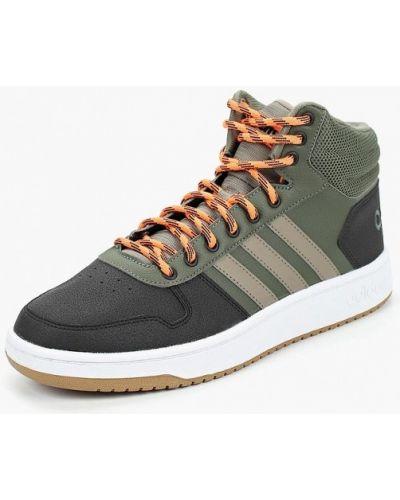 Зеленые высокие кеды Adidas