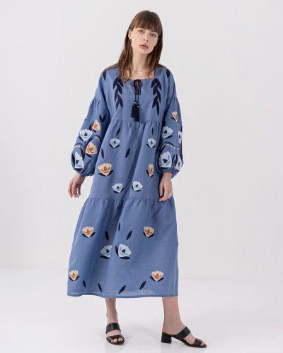 Платье оверсайз - синее Etnodim